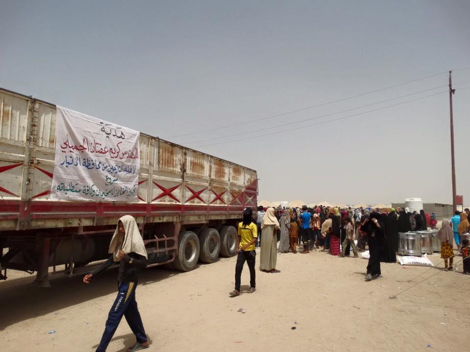 كريم عفتان يطلق حملة لإغاثة النازحين بمخيمات الانبار