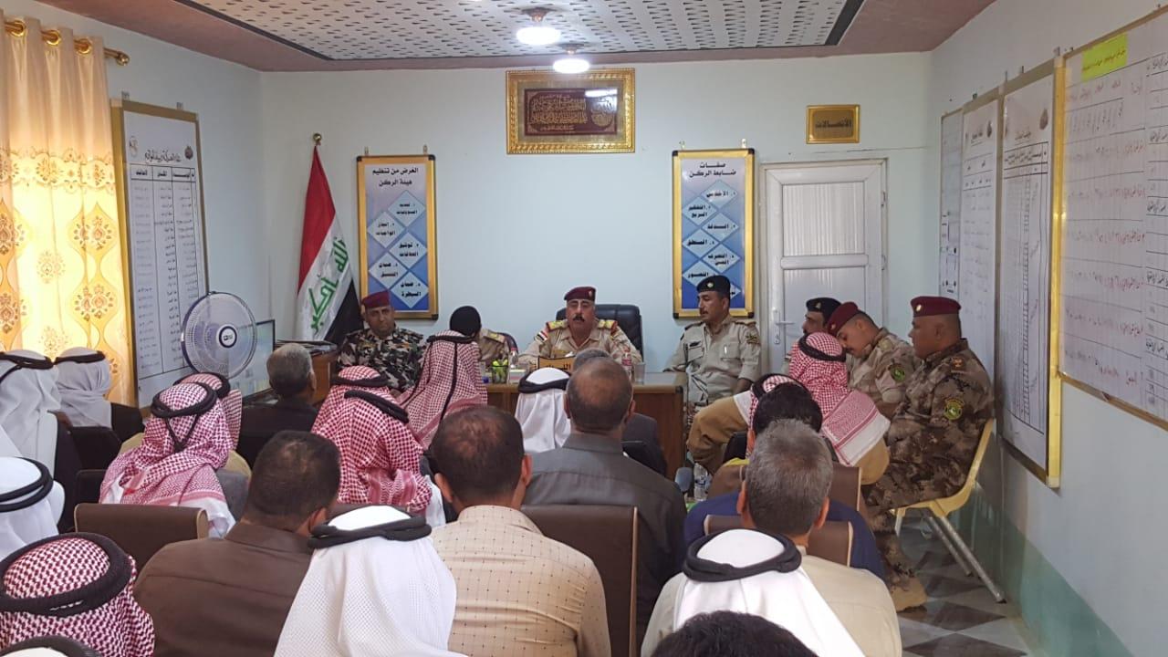 قائد عمليات الجزيرة يعقد اجتماعا مع شيوخ ووجهاء ناحية الرمانة بالقائم