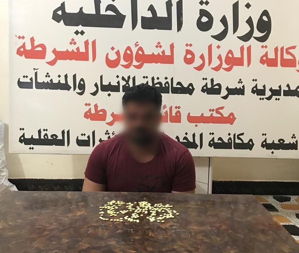 شرطة الأنبار تعتقل احد تجار الحبوب المخدرة في الرمادي