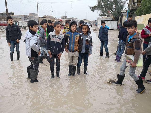 بالصور.. ما سببته الامطار في السليمانية والصويرة وجامعة كربلاء وحي النزال بالفلوجة