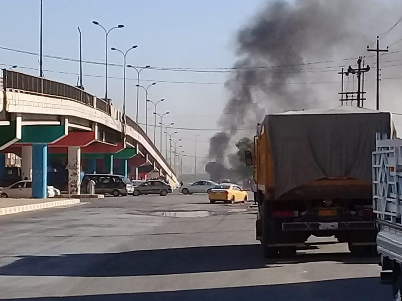بالصورة… انفجار سيارة مفخخة وسط الفلوجة