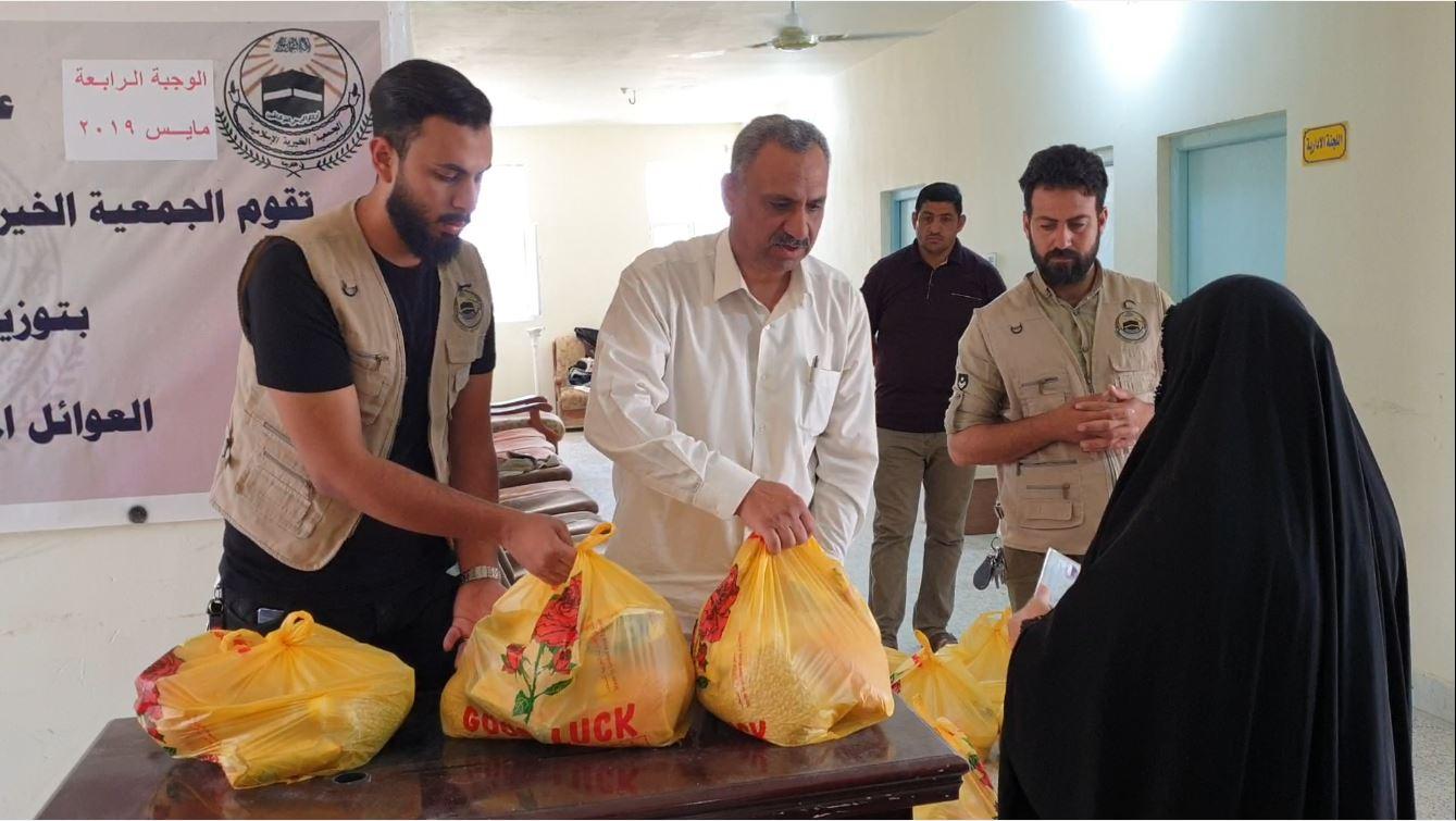 الجمعية الخيرية الاسلامية توزع مساعدات اغاثية على العوائل المتعففة بالفلوجة وضواحيها