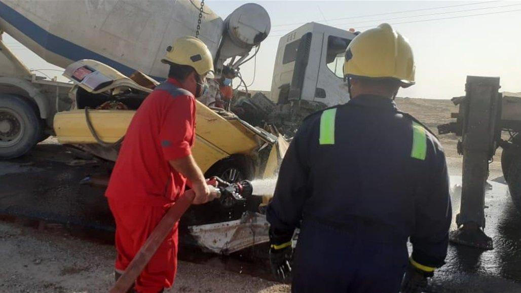 الدفاع المدني يعلن انتشال اربع جثث وانقاذ مواطن من حادث سير في الانبار