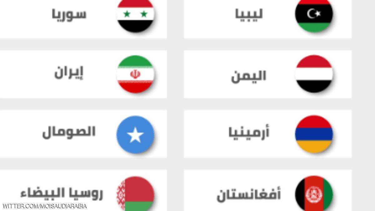 السعودية تحذر مواطنيها من السفر إلى 12 دولة